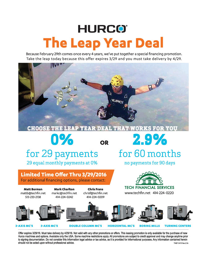 HURCO LEAP YEAR DEAL EXTENDED