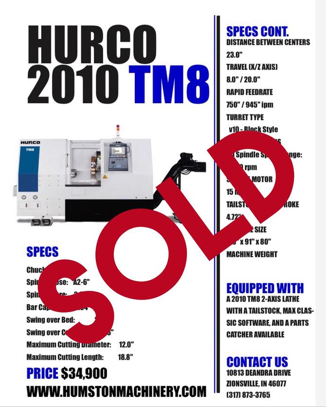2010 Hurco TM8 Sold!