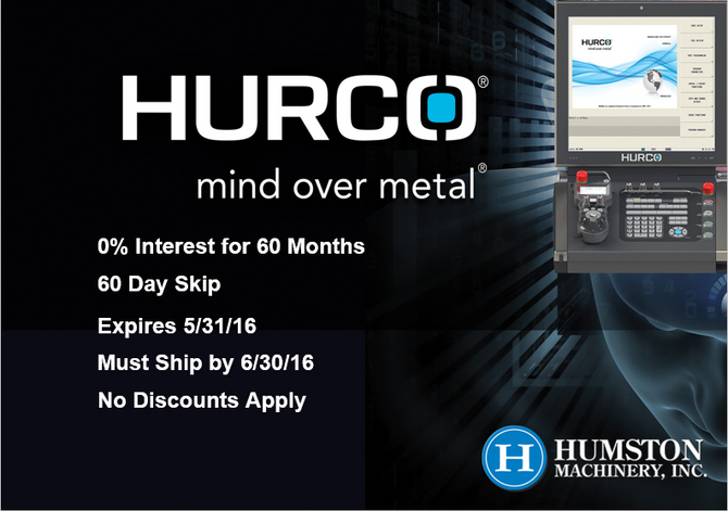 Hurco Special Financing Deal Until 5/31 !!!