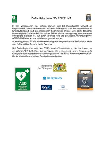 Defibrillator beim SV Fortuna Regensburg
