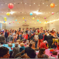 Gym decorated for large party