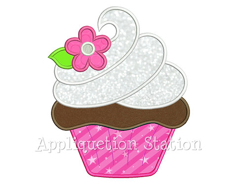 Cupcake Swirl with Flower