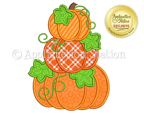 Pumpkin Stack with Leaves