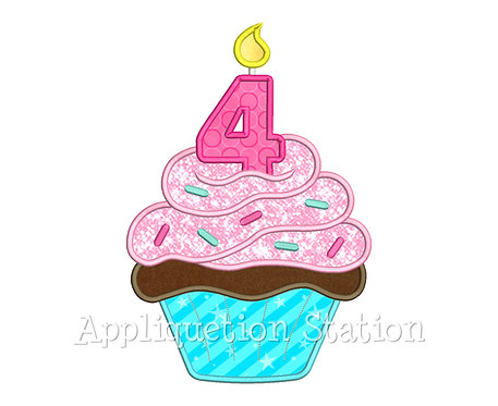 Birthday Cupcake Candle 4 Four