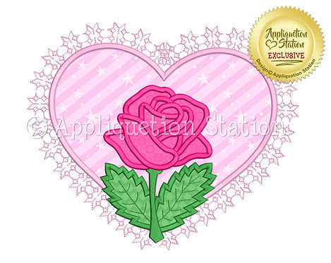 Lace Heart with Rose