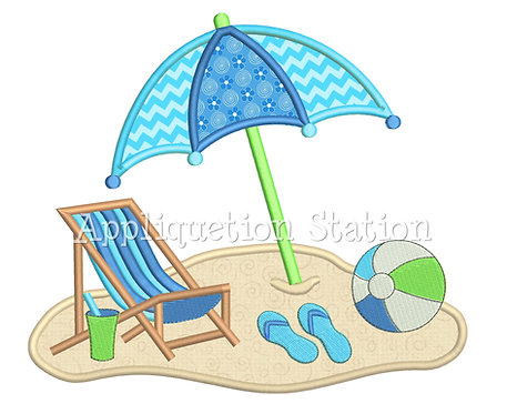 Beach Chair Umbrella Scene
