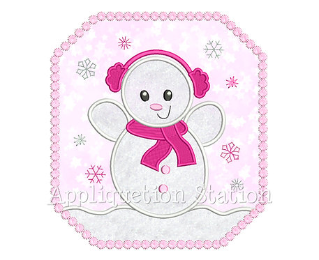 Snow Baby Girl Snowman in Frame