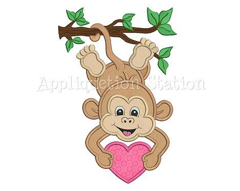 Zoo Baby Monkey Hanging with Heart