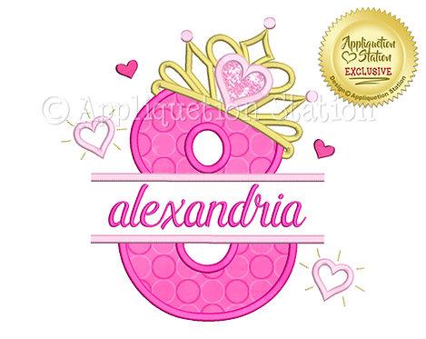 Split Princess Tiara with Hearts Number 8