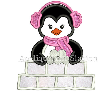 Penguin Girl Making Snow Fort