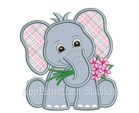 Elephant Holding Flowers