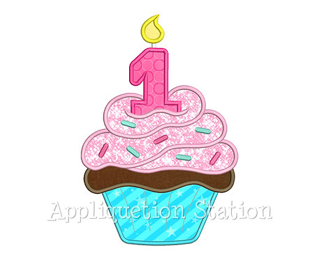 Birthday Cupcake Candle 1 One