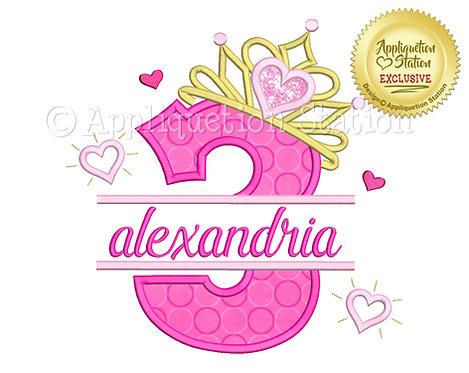 Split Princess Tiara with Hearts Number 3