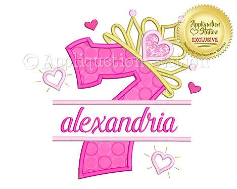 Split Princess Tiara with Hearts Number 7