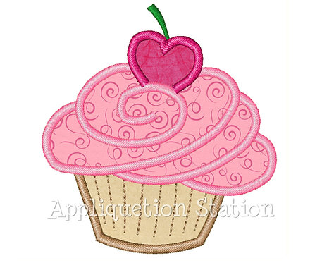 Birthday Cupcake with Heart Cherry