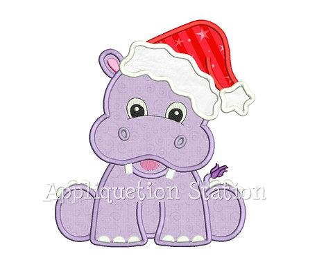 Christmas Hippopotamus with Santa Hat
