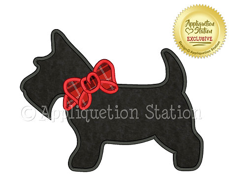 Scottie Dog Silhouette with Bow