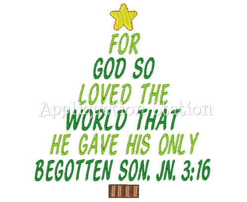 christmas tree john 316 machine embroidery design holiday bible jesus real meaning of christmas instant download
