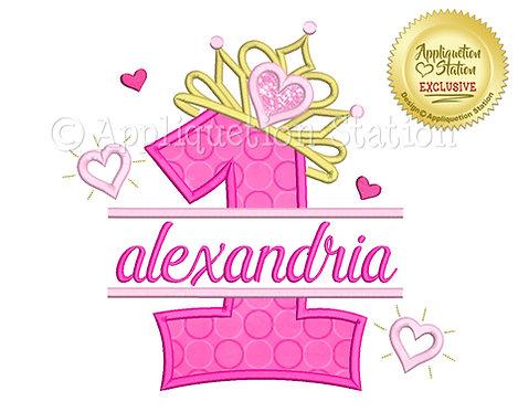 Split Princess Tiara with Hearts Number 1