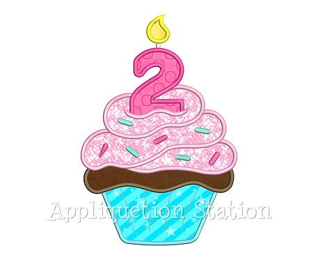 Birthday Cupcake Candle 2 Two