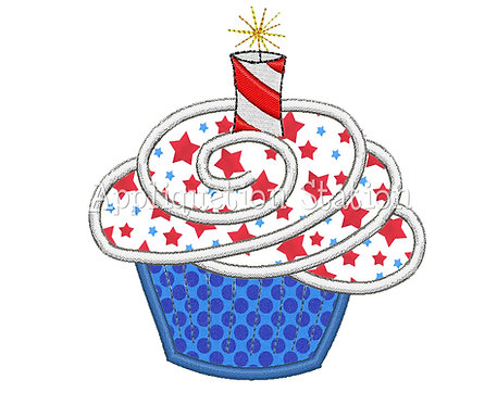 Patriotic Cupcake with Sparkler