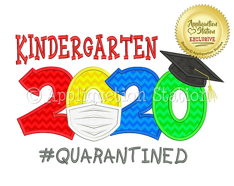 Kindergarten 2020 Graduation Cap Mask #Quarantined
