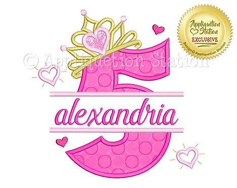 Split Princess Tiara with Hearts Number 5