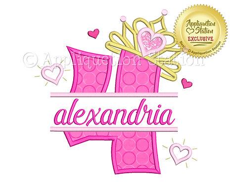 Split Princess Tiara with Hearts Number 4