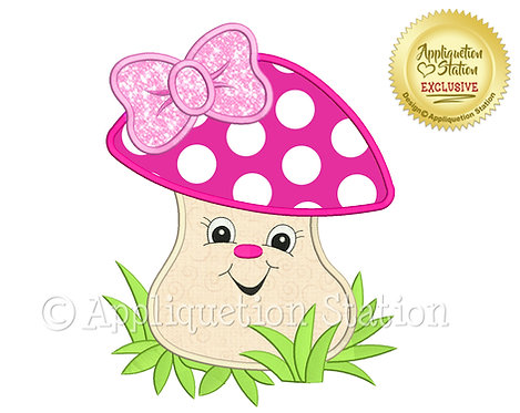 Happy Baby Girl Mushroom with Bow