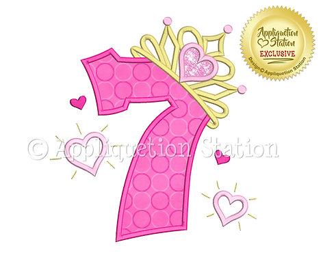 Princess Tiara with Hearts Number 7