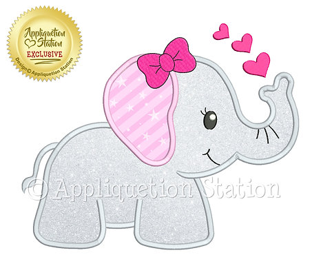 Baby Girl Elephant with Hearts