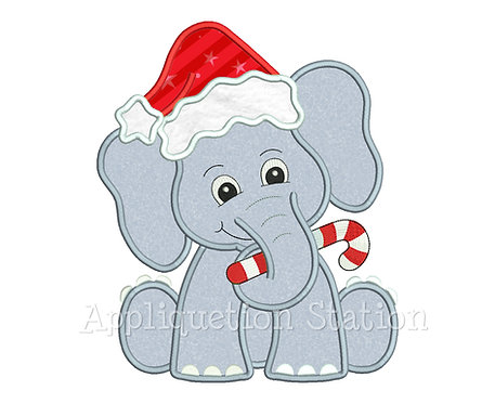 Christmas Elephant with Santa Hat