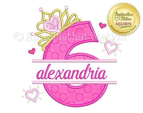 Split Princess Tiara with Hearts Number 6