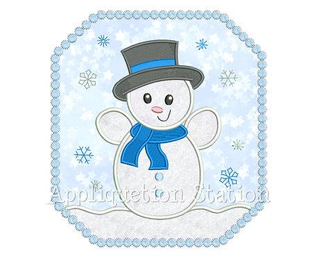 Snow Baby Boy Snowman in Frame