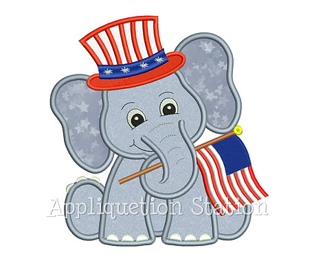 Patriotic Elephant with American Flag