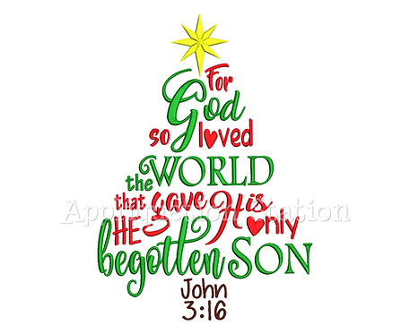 John 3:16 Word Art Christmas Tree
