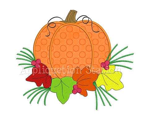 Fall Pumpkin with Leaves