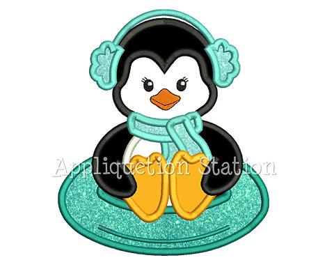 Penguin Girl Sledding
