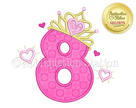 Princess Tiara with Hearts Number 8