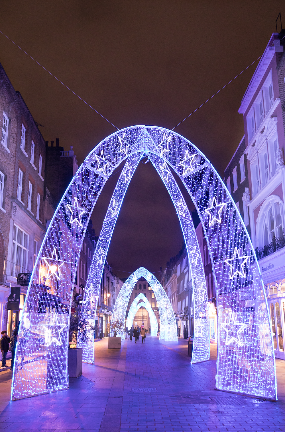 City Streets decorated in Festive lights