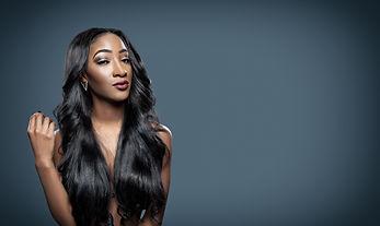 Black beautiful woman with long luxuriou