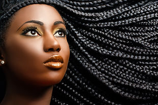 Close up cosmetic beauty portrait of afr