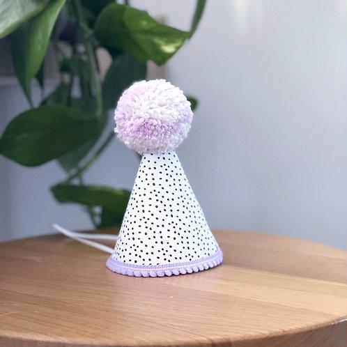 Glitter Party Hat | Polka Dot Lilac