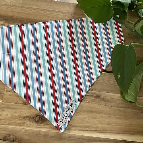 Red Blue Stripe Bandana | Large | Handmade Night