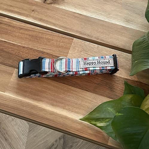 Blue Red Stripe Collar  | Medium |  Handmade Night