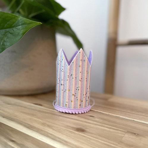 Glitter Party Crown | Lilac Stripe