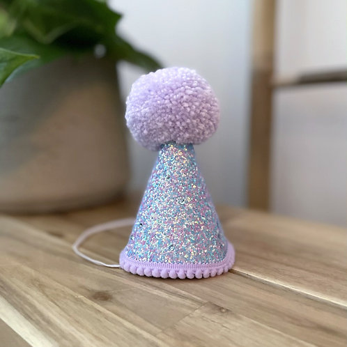 Glitter Party Hat   Lilac Blue