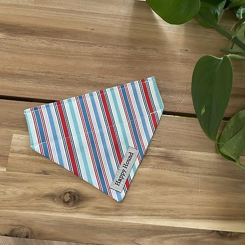 Blue Red Stripe Bandana | Extra Small | Handmade Night