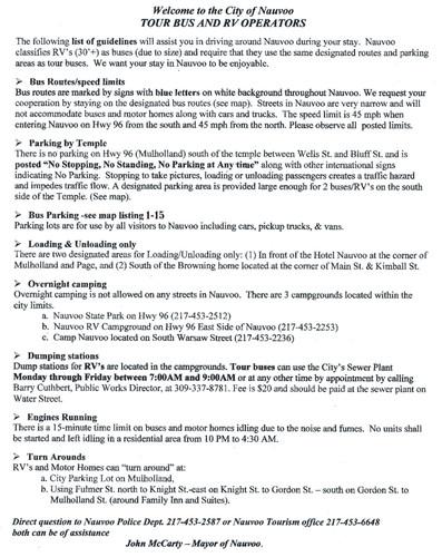 Tour Bus Instructions