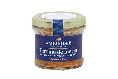 Terrine de Merlu aux tomates, olives et basilic Bio